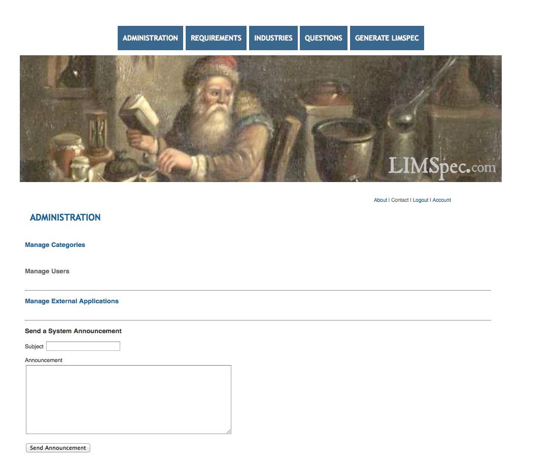 Limspec admin page.png